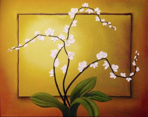 ORCHID BLOSSOMS ORIGINAL 3D OIL PAINTING HANDMADE ABSTRACT ART FROM ARTIST