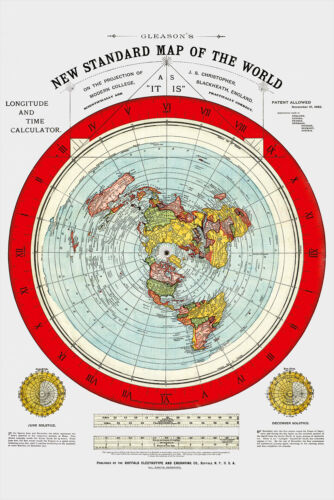 """Flat Earth Map - 2  Gleason's New Standard Maps Of The World - Large 24"""" x 36"""""""