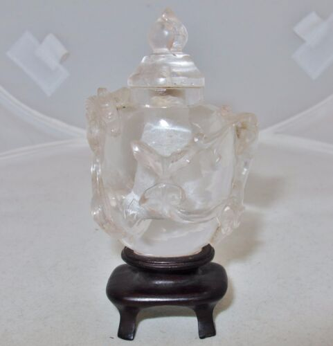 Chinese Carved Rock Crystal Quartz Snuff Bottle w/ CHILONG Baby Dragons & Stand