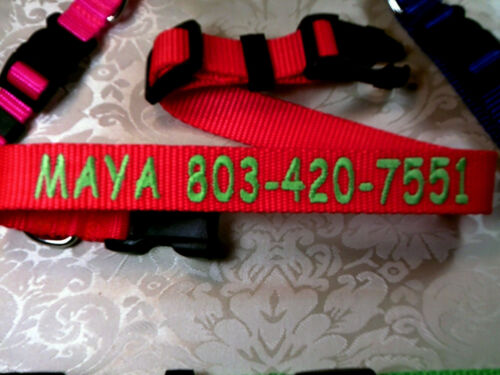 """Personalized Monogrammed Adjustable Dog Collars 1"""" , 3/4"""", 5/8"""" Wide Heavy Nylon"""
