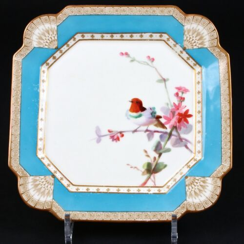 12 Antique Hand-Painted English Aesthetic Movement Turquoise Square Plates