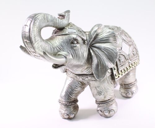 "Feng Shui 13"" Silver Large Elephant Trunk Statue Lucky Figurine Gift Home Decor"