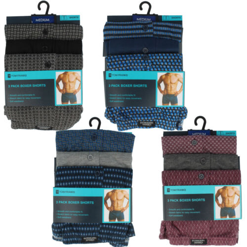 MENS TOM FRANKS PACK OF 3 MODERN CASUALS DAILY WEAR BOXER SHORTS BR 167 BR170