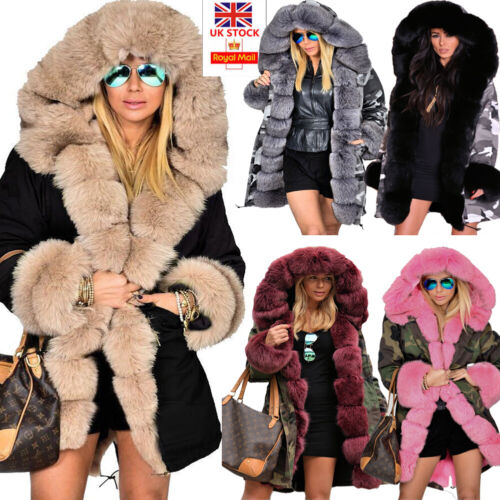 Roiii Women Ladies Winter Long Warm Thick Parka Faux Fur Jacket Hooded Coat 8-20 <br/> New 2019 Trench coat Outwear Overcoat Lining With Fur