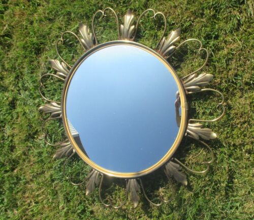 Lovely Starburst Sunburst Metal Wall Convex Mirror Mid Century Mirror Gold