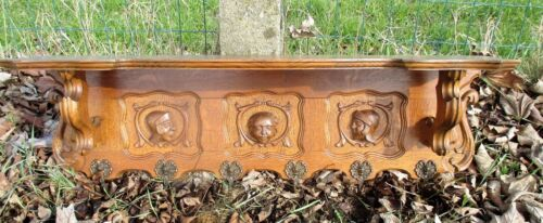 Antique Hand Carved Oak Coat Hat Rack Wood Carved Heads Gorgeous
