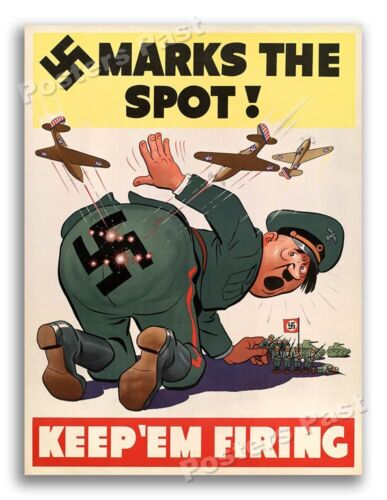 """1942 World War 2 """"Marks The Spot"""" WWII War Poster - 18x24United States - 156437"""