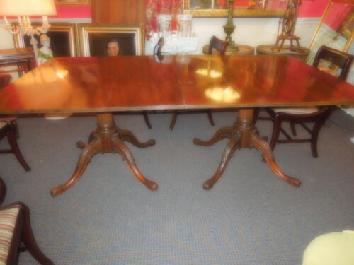 Georgian Style Mahogany two-pillar Dining Table, late 19th c