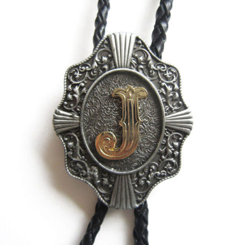 "Initial Letter ""J"" Western Cowboy Rodeo Bolo Tie"