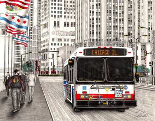 Chicago CTA Bus drawing, direct from artist- Omoro Rahim - 18x24 inch print.