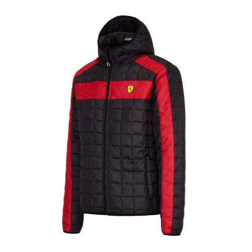 Ferrari Black Hooded Padded Packable Jacket with Ferrari Scudetto on Chest.