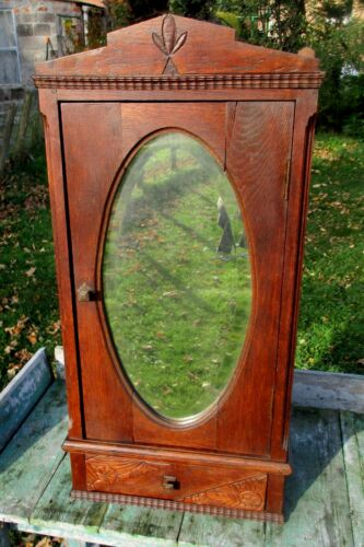 Antique Carved Wood medicine bathroom Wall Cabinet Oval Beveled Glass mirror