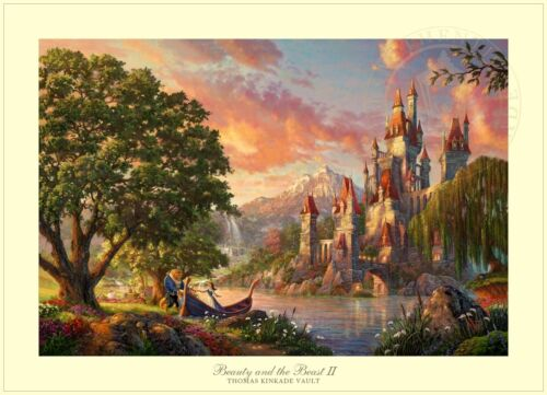 Thomas Kinkade Disney Beauty and the Beast II – 28x42 S/N Limited Edition Paper