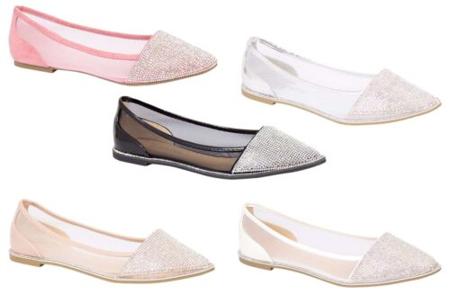 New Womens Ballerina Dolly Pumps Ladies Flat Diamante Mesh Party Sandals Shoes