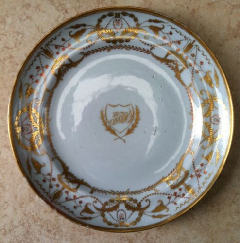 """CHINESE EXPORT PORCELAIN 7 3/4"""" GOLD SHIELD MONOGRAMMED"""