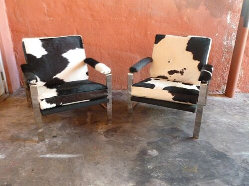 GREAT 60'S PAIR CHROMED STEEL ARCHITECTURAL DESIGNER LOUNGE CHAIRS