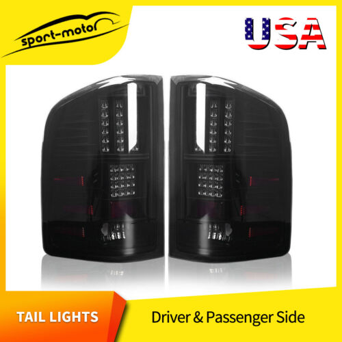 LED Tail Lights Replacement for 2007-2013 Chevy Silverado Black Smoke Rear Lamps <br/> w/ LED Lights, Passenger + Driver Pail Taillights Set