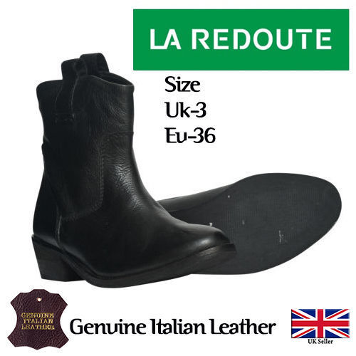 La Redoute Womens Block Heel Hlip Ankle Leather Comfort Boots Sizes