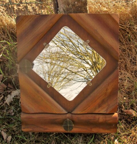 Vintage art deco Wood small Medicine Cabinet Apothecary wall Mirror Drawer funky