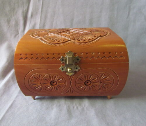 """Rectangular Wooden Box with Carving, Pear Wood, Opens Inside , 6 1/2"""""""