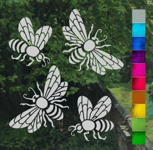 Set of Four Honey Bees Frost Etch Stained Glass Effect Window Patio Door Sticker