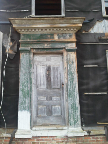 1840's GREEK REVIVAL WOOD ENTRY DOOR & PORTICO