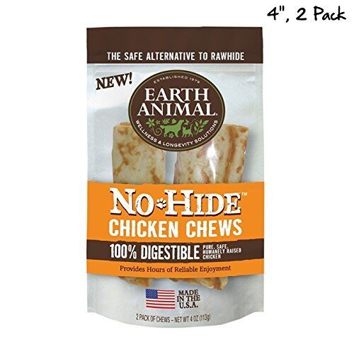 "EARTH ANIMAL DOG NO HIDE CHICKEN 4"" 2 IN PK FREE Shipping"