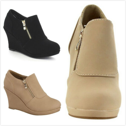 New Women's Fashion High Heel Platform Wedge Ankle Booties Shoes Side Zipper