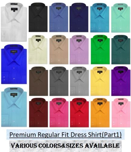 NEW MENS Solid Long Sleeve Dress Shirt - 26Colors, Part 1(14colors)