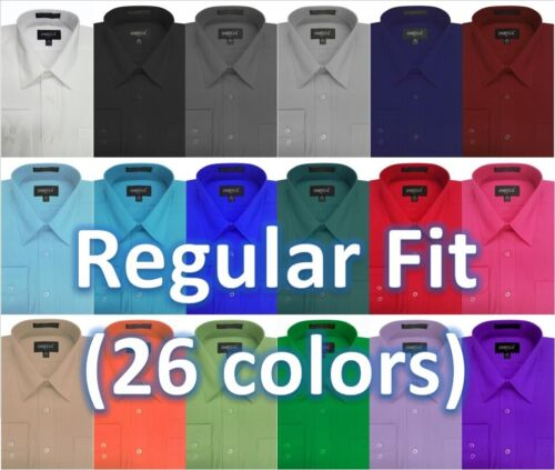 NEW MENS Solid LONG Sleeve Dress Shirt - 26 Colors, Part 2(14colors)