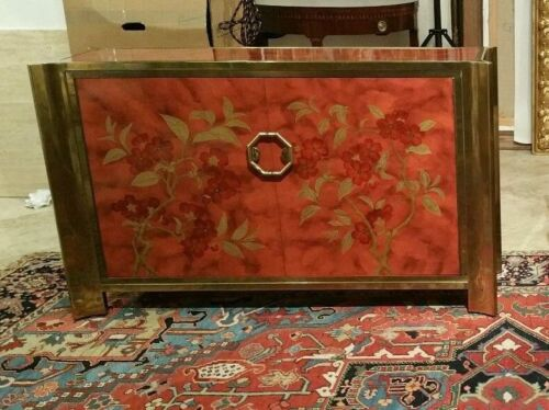 RARE IMPORTANT MASTERCRAFT CHINOISERIE FAUX TORTOISE SHELL COMMODE - 1/4 P