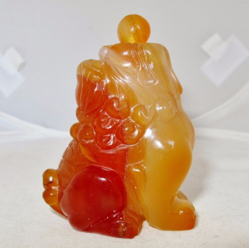 "2.7"" Chinese Carved Orange Carnelian Agate Foo Dog or Temple Lion Snuff Bottle"