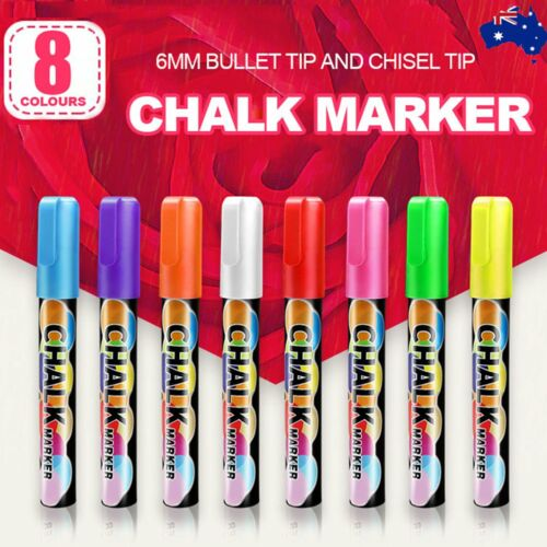 8x 6mm Liquid Chalk Marker Pens 2 Tips  LED Writing Board Glass Art Pen Window <br/> Water based non toxic ink √Bullet& Chisel Tip√ From SYD