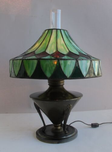 Fine BRADLEY & HUBBARD Stained & Leaded Glass Oil Lamp  c. 1890  antique