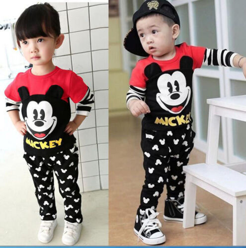 2PCS Kids Boys/Girl Mickey Mouse T-Shirt + Pants Set casual clothes Outfits Sets