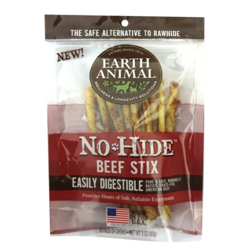 Earth Animal No Hide Beef Stix Dog Treats, 10 Pack Free Shipping