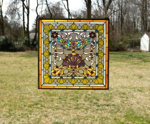 "24"" x 24"" Colorful Tiffany Style stained glass Jeweled window panel !"