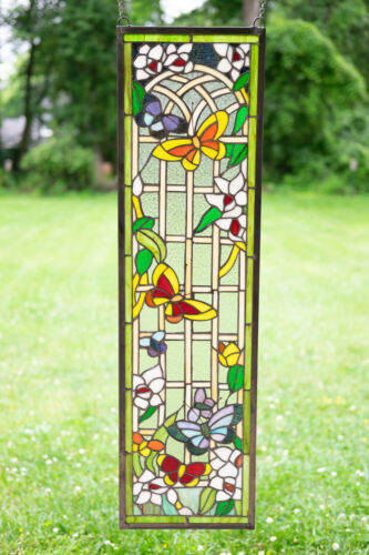 """9"""" x 36"""" Handcrafted stained glass window panel Butterfly Garden Flower"""