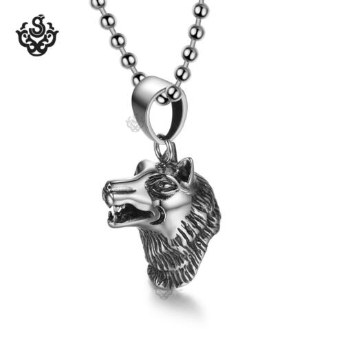silver wolf German Shepherd dog long coat pendant stainless steel chain necklace