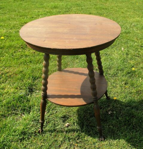 Round Coffee Side Occasional Table Plant Stand  Wood Iron  Claws 2 Tier WOW