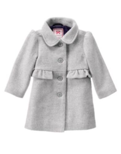 GYMBOREE PLUM PARTY GRAY SPARKLING RUFFLE WOOL COAT 6 12 24 2T 3T 4T 5T NWT