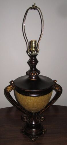 LARGE ANTIQUE BRONZE URN SHAPED TABLE LAMP-Two Handles VINTAGE HYDROCAL
