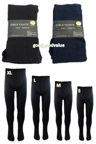 4 Girls Thick Winter School Full Length Black Navy Tights Stocking Size 2-12