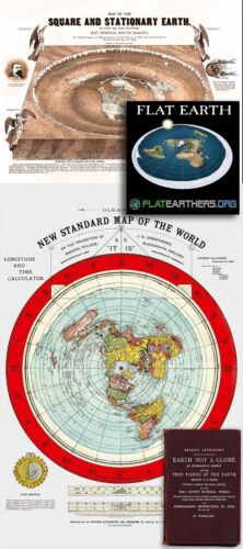 Flat Earth Maps SET: Gleason's Standard 24x36 & Square Stationary Earth 24x18