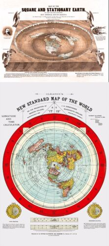 Flat Earth Maps 2 SETS:Gleason's Standard 24x36 & Square Stationary Earth 24x18