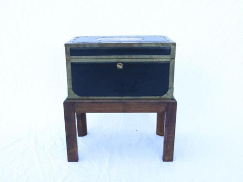VTG Italian Brass and Leather Chest on Stand Oak, Side Table Designer Rare Italy