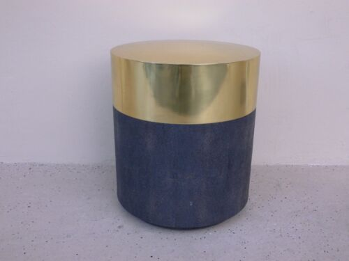 PAIR OF MADE GOODS BRASS AND FAUX SHAGREEN MAXINE TABLE / STOOL  3400.00 NEW