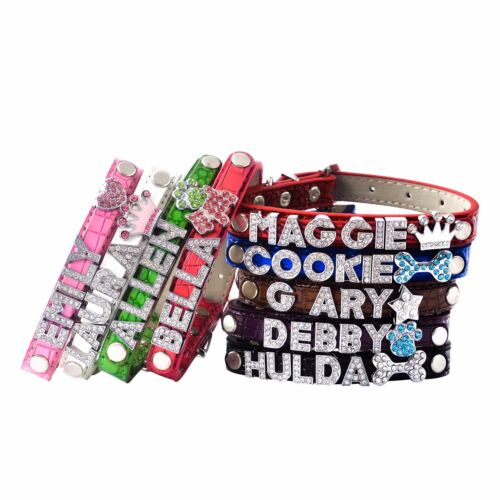 Pet Dog Cat Personalize Customize Collar Bling Rhinestone Name Croc PU Leather