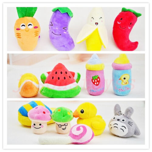 Pet Dog Puppy Cat Squeaker Quack Sound Toy Chew Donut Fruit Play Plush Toys