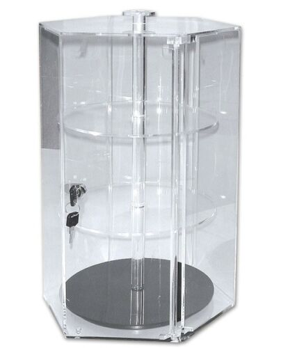 Collectables Acrylic Display Case Lockable Spinning Hexagonal Design